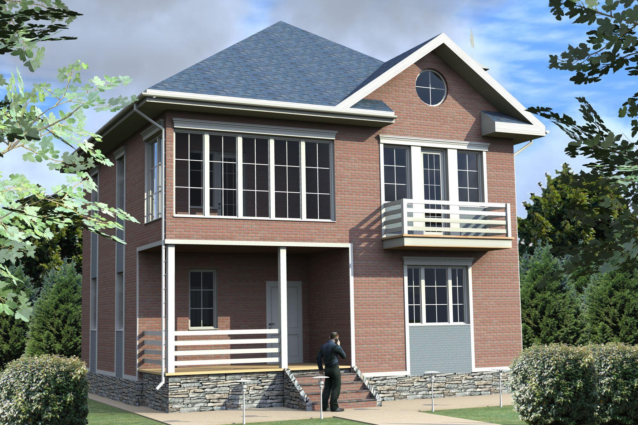 картинки двухэтажного дома из блоков