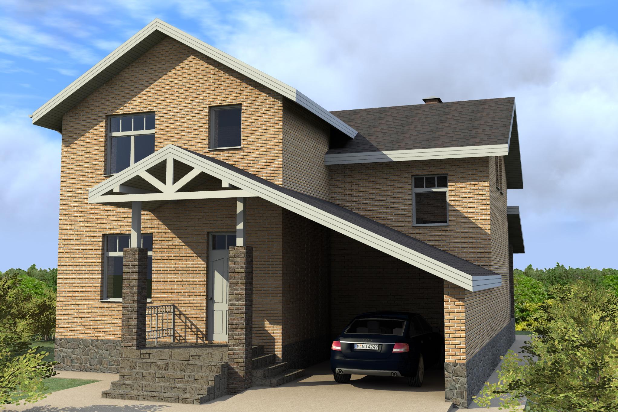 Проект полутораэтажного дома с гаражом фото